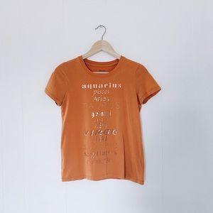 Madewell Orange Zodiac Foil Print Tee